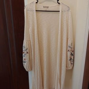 Lightweight Long Cardigan w/ Embroidered Sleeves